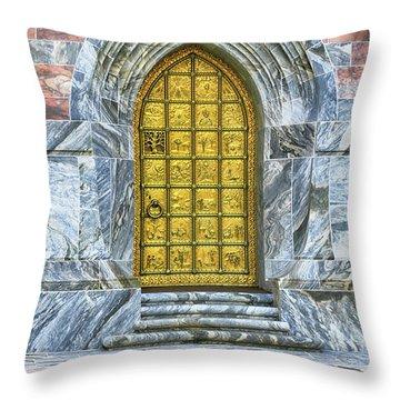 Throw Pillow featuring the photograph Bok Tower Door by Deborah Benoit