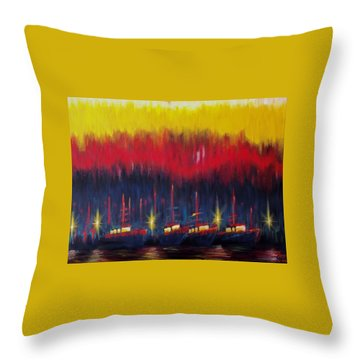 Bold Boats Throw Pillow