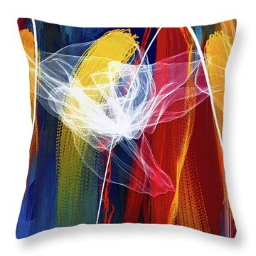 Throw Pillow featuring the painting Bold Colors Modern Abstract Art by Lourry Legarde