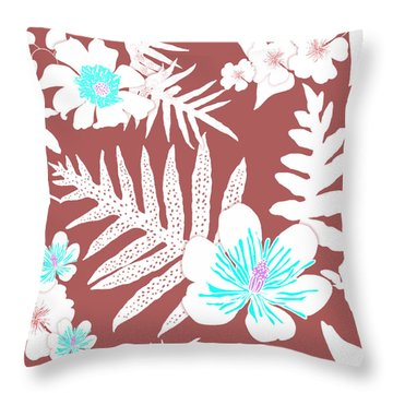 Bold Fern Floral - Dusty Cedar Throw Pillow