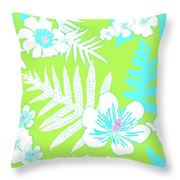 Bold Fern Floral - Lime Throw Pillow