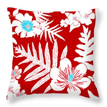 Bold Fern Floral - Red Throw Pillow