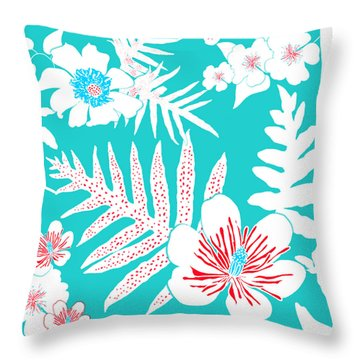 Bold Fern Floral - Turquoise Throw Pillow
