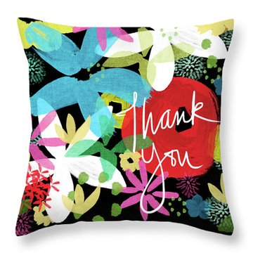 Bold Floral Thank You Card- Design By Linda Woods Throw Pillow
