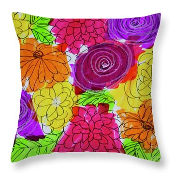 Throw Pillow featuring the painting Bold Flowers by Kim Nelson