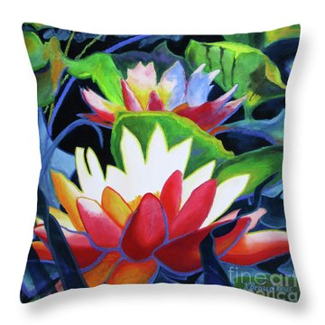Throw Pillow featuring the painting Bold Lilypads by Kathy Braud