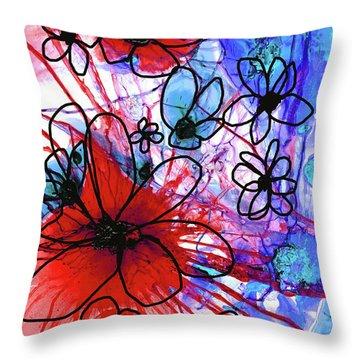 Bold Modern Floral Art - Wild Flowers 3 - Sharon Cummings Throw Pillow