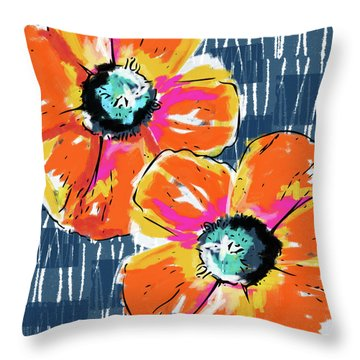 Bold Orange Poppies- Art By Linda Woods Throw Pillow by Linda Woods