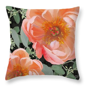 Throw Pillow featuring the painting Bold Peony Seeded Eucalyptus Leaves by Audrey Jeanne Roberts