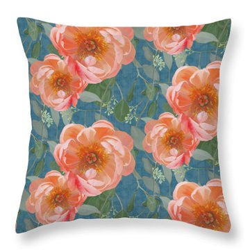 Bold Peony Seeded Eucalyptus Leaves Repeat Pattern Throw Pillow