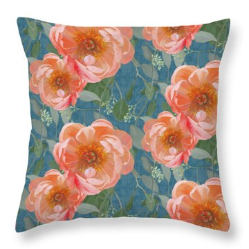 Throw Pillow featuring the painting Bold Peony Seeded Eucalyptus Leaves Repeat Pattern by Audrey Jeanne Roberts