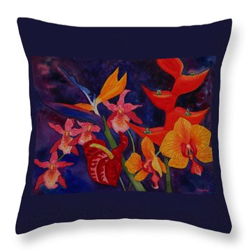 Throw Pillow featuring the painting Bold Tropical Flowers by Kerri Ligatich