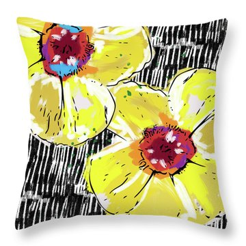 Throw Pillow featuring the mixed media Bold Yellow Poppies- Art By Linda Woods by Linda Woods