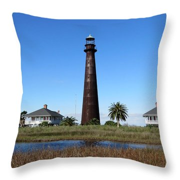 Bolivar Point Lighthouse Throw Pillow