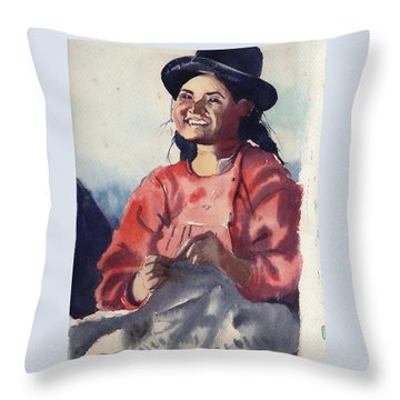 Throw Pillow featuring the painting Bolivian Seamstress by Gertrude Palmer