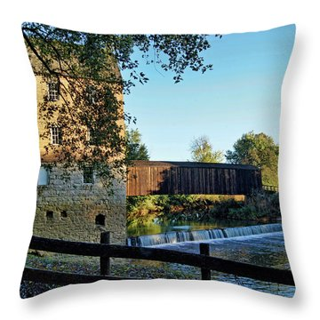 Throw Pillow featuring the photograph Bollinger Mill And Bridge by Cricket Hackmann