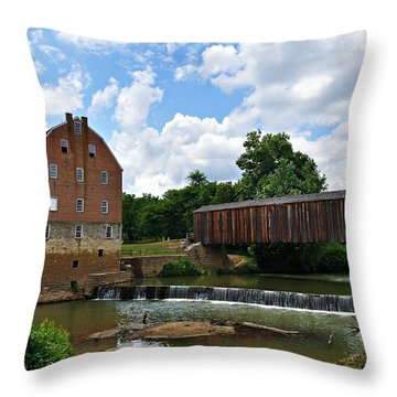 Bollinger Mill And Covered Bridge Throw Pillow by Marty Koch