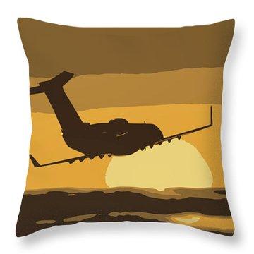 Bombardier Crj-200er Flying Sunset Throw Pillow