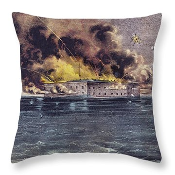 Bombardment Of Fort Sumter, Charleston Harbor, Signaled The Start Of The American Civil War Throw Pillow