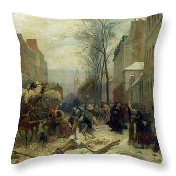Bombardment Of Paris In 1871 Throw Pillow by Felix Philippoteaux