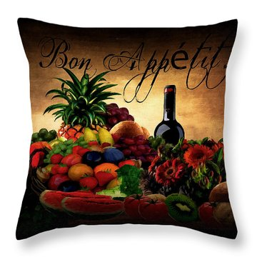 Bon Appetit Throw Pillow by Lourry Legarde