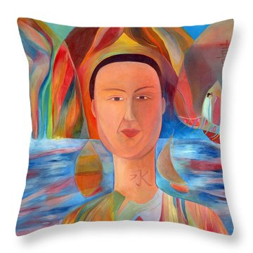 Throw Pillow featuring the painting Bon-eo by Linda Cull