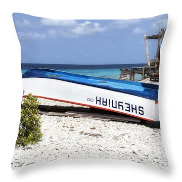 Bonaire. The Old Boat Throw Pillow
