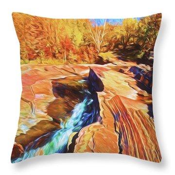 Bonanza Falls Throw Pillow by Dennis Cox WorldViews