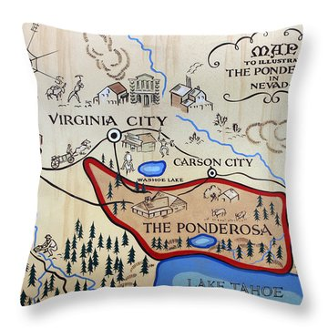 Bonanza Series Ponderosa Map  1959 Throw Pillow