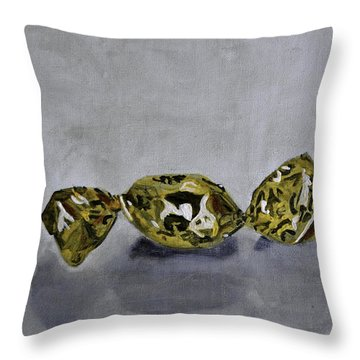 Bonbon Wrapped In Gold Throw Pillow