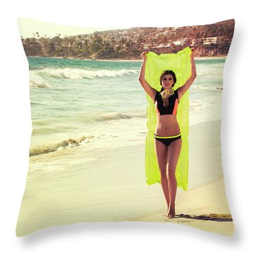 Bond Girl Laguna Beach Throw Pillow