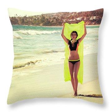 Bond Girl Laguna Beach Throw Pillow