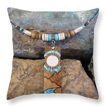 Bone Sun/moon Set In Gourd Wood #r115 Throw Pillow by Barbara Prestridge