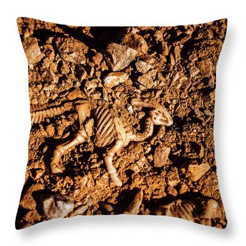 Bones From Ancient Times Throw Pillow