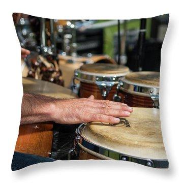 Bongo Hand Drums Throw Pillow