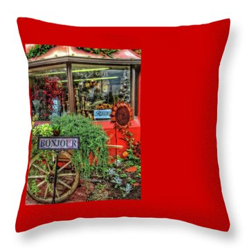 Throw Pillow featuring the photograph Bonjour Hello Good Day by Thom Zehrfeld
