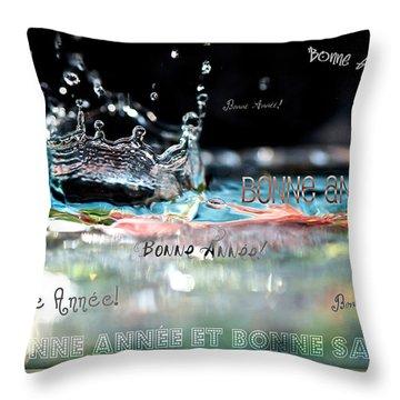 Bonne Annee Card Throw Pillow by Lisa Knechtel