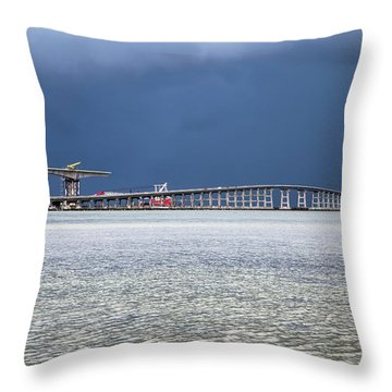 Throw Pillow featuring the photograph Bonner Bridge Replacement by Alan Raasch