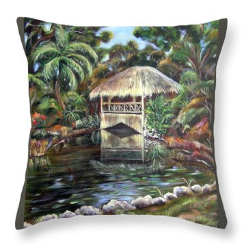 Bonnet House Chickee Throw Pillow by Patricia Piffath