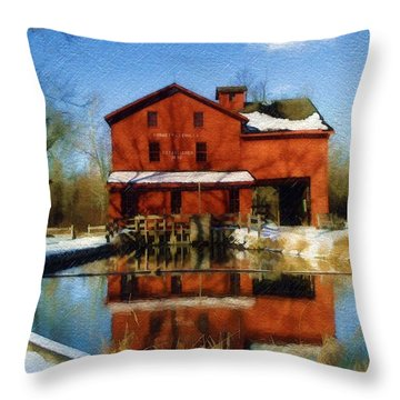 Throw Pillow featuring the photograph Bonneyville In Winter by Sandy MacGowan