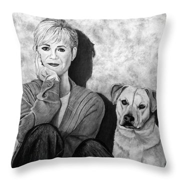 Bonnie Hunt And Charlie Throw Pillow by Peter Piatt