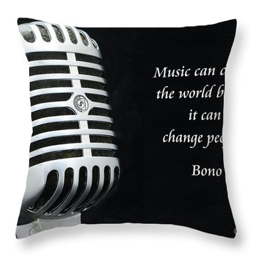 Bono On Music Throw Pillow by Paul Ward