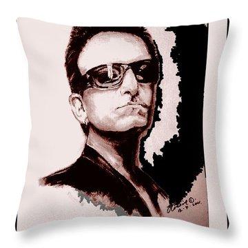 Bono U2 Throw Pillow by Liam O Conaire