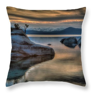 Bonsai Rock At Sunset Throw Pillow