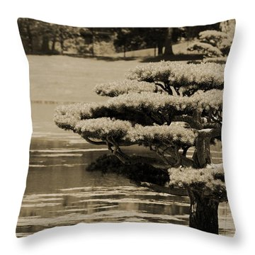 Bonsai Tree Near Pond In Sepia Throw Pillow