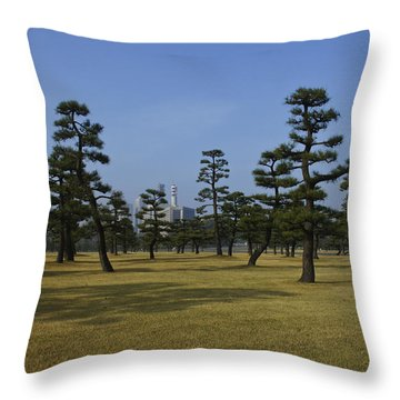 Bonsai Trees And Tokyo Skyscrapers Throw Pillow