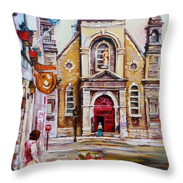 Bonsecours Church Throw Pillow by Carole Spandau