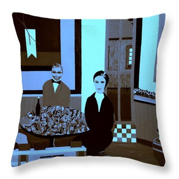 Throw Pillow featuring the painting Bonsoir by Bill OConnor