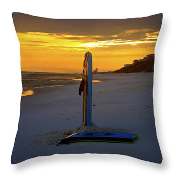 Boogie Boards At Sunset Throw Pillow