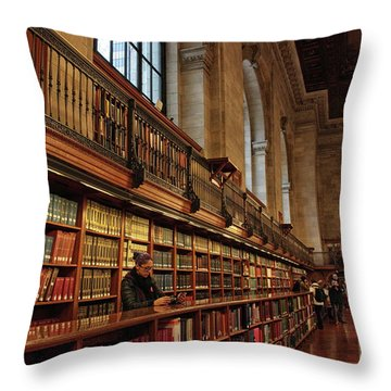 Throw Pillow featuring the photograph Book Browsing by Jessica Jenney